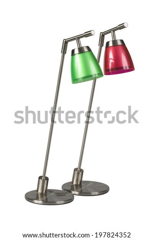 Modern green and red desk lamps isolated on white background with clipping path