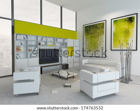 Modern green and white colored living room interior - stock photo