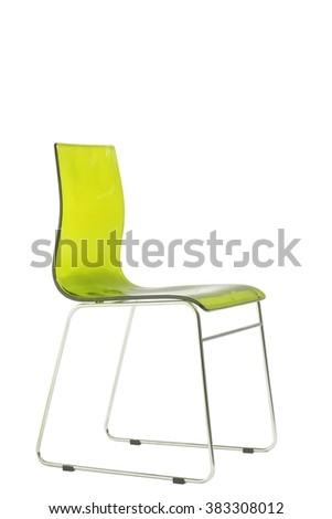 modern green plexiglass chair isolated on white - stock photo
