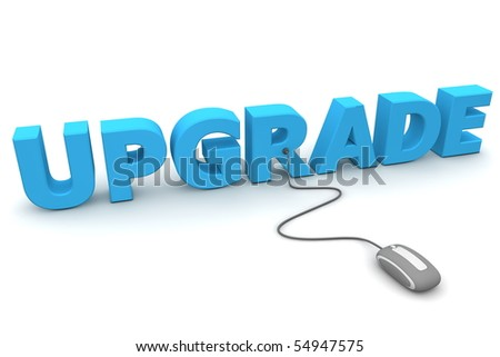modern grey computer mouse connected to the blue word Upgrade - stock photo