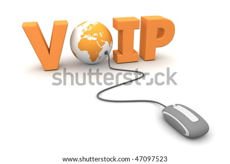 modern grey computer mouse connected to the orange word VoIP - the letter O is replaced by a globe