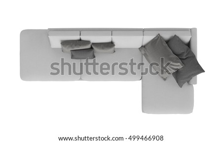 Modern Grey Fabric Sofa Furniture Isolated Stock Photo