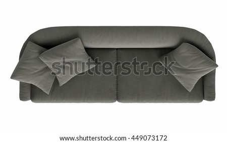 Modern grey sofa isolated on white background, . top view - stock photo