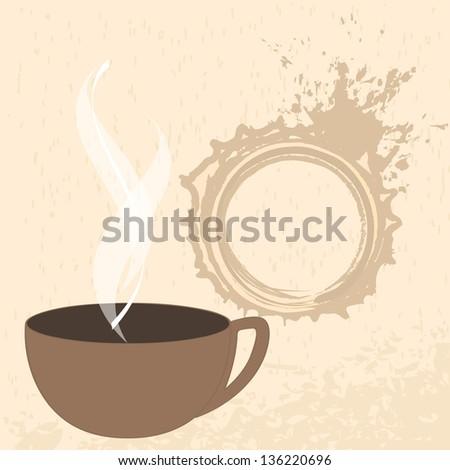 Modern, grunge coffee themed illustration - stock photo