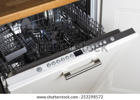 modern Half open empty dishwasher in a modern kitchen