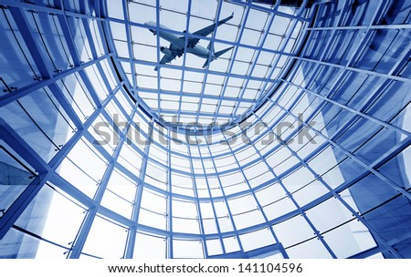 Modern hall at the top, modern building interiors. - stock photo