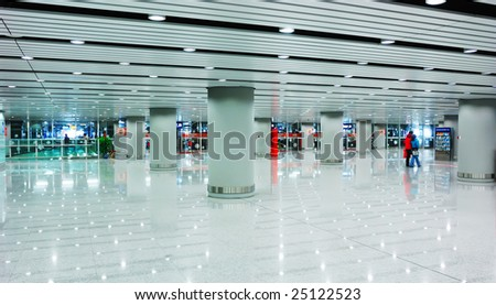 modern hall inside in the beijing airfield - stock photo
