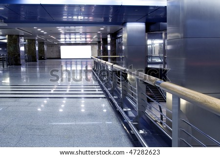 modern hall with white placard - stock photo