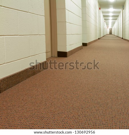 Modern Hallway in new building - stock photo