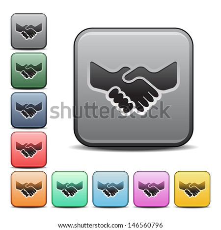 Modern Handshake Icon with Color Variations.  Raster version, vector also available. - stock photo