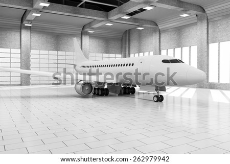 Modern Hangar 3D Interior with Big Windows and Modern Airplane Inside. Passenger Airplane of My Own Design. 3D Rendering - stock photo