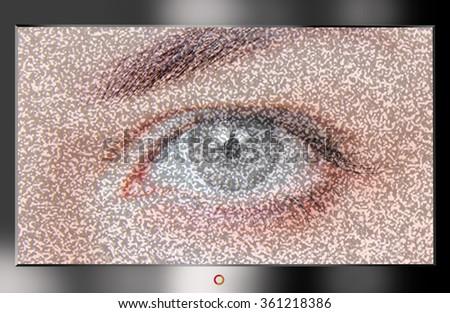 Modern HD TV showing a beautiful female gray eye. TV broadcast damaged - stock photo