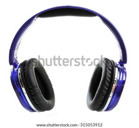 Modern headphones isolated on white
