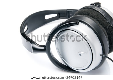 Modern headphones isolated on white background