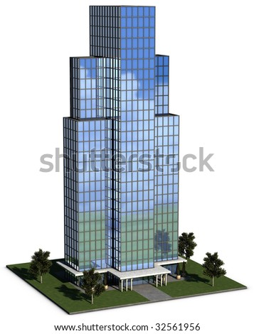 modern hi-rise corporate office building with glass exterior over a white background - stock photo