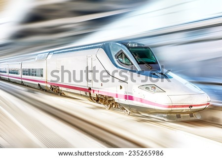 Modern Hi-Speed  Passenger Train. Motion effect . - stock photo