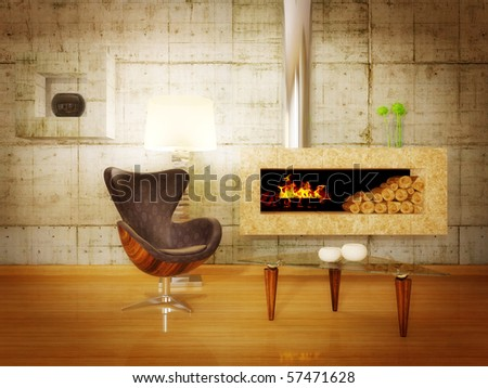 modern hi-tech  interior room with fireplace  and concrete wall - stock photo