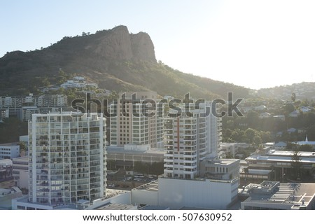 Modern high-rise architecture in downtown Townsville, Queensland, Australia on a bright sunny summer day with a rooftop view across the city