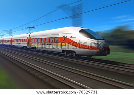 Modern high speed train with motion blur - stock photo
