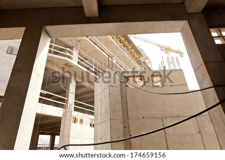 Modern high-tech factory formwork construction site  - stock photo