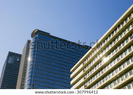 modern high tower office building skyscraper in Japan - stock photo