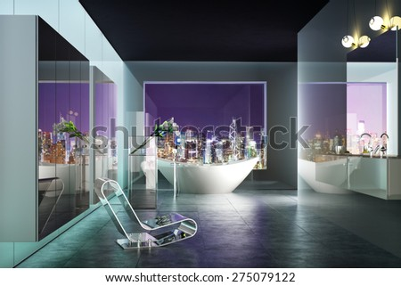 Modern highrise contemporary bathroom interior with view of the city .Photo realistic 3d rendered scene. - stock photo