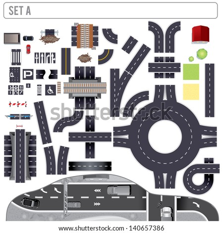 Modern Highway Map Toolkit. Top View Position. Pack Include: Road Elements, Bridges, Buildings, Markers. Design Clip Art