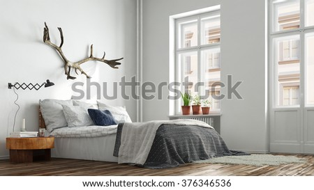 Modern hipster bedroom in Berlin with bed and nightstand (3D Rendering) - stock photo