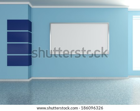 Modern home interior with blue wall and frame. 3D. - stock photo