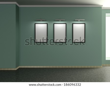Modern home interior with green wall and three frames. 3D.