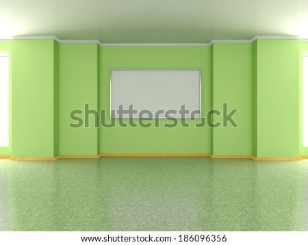 Modern home interior with pea green wall and frame. 3D. - stock photo