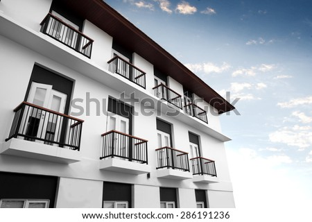 Modern home living building, apartment - stock photo