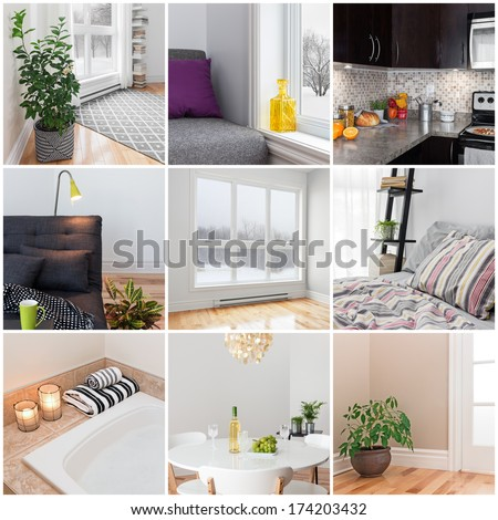 Modern home. Living room, dining room, bedroom, kitchen, bathroom. Collection of 9 images. - stock photo