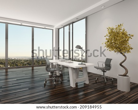 modern home office interior design with two office chairs on either side of a white desk - Modern Home Office For Two