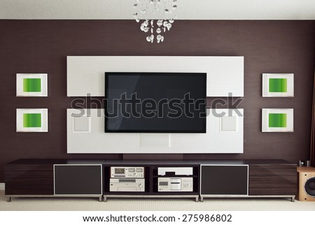 Modern Home Theater Room Interior with Flat Screen TV frontal view - stock photo