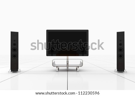 Modern Home Theater Room with Television - Isolated on White Background