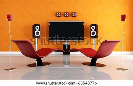 modern home theater with two fashion armchair - rendering - stock photo