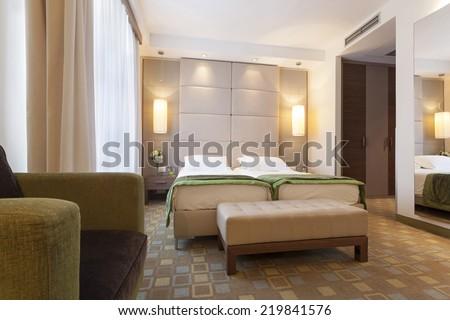 Modern Hotel Bedroom luxury modern japanese style bedroom stock photo 133732082