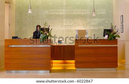 Modern Hotel Reception Desk - stock photo