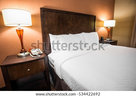 Modern Hotel Room Bed Lamps On Stock Photo 534422692
