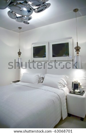 modern hotel room in white colors - stock photo