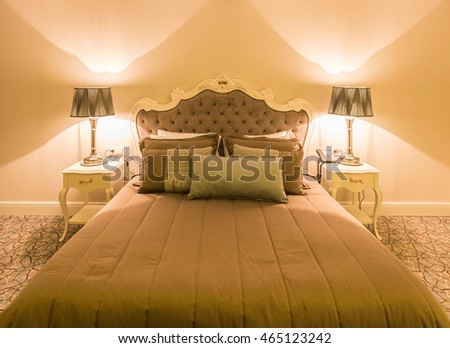Modern hotel room with big bed