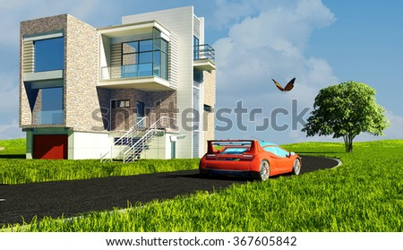 Modern house and car on the grass. - stock photo