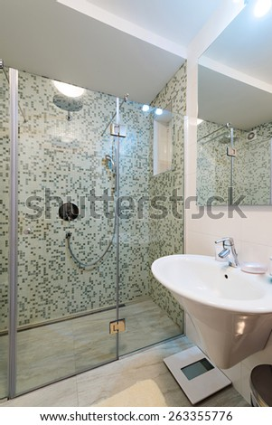 Modern house bathroom interior - stock photo