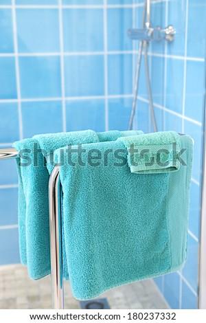 Modern house bathroom interior details focus on towel rack - stock photo