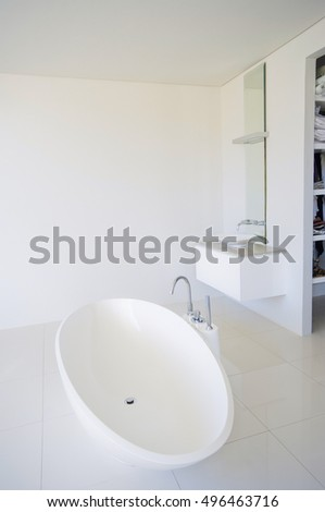 Modern house bathroom interior. Luxury bathroom. Friendly bathroom. Interior of a modern bathroom with bath
