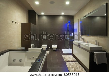 Modern house bathroom interior with simple and expensive furniture. - stock photo