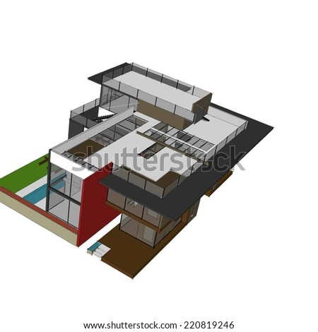 modern house building sketch on white background