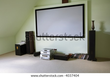 Modern house cinema in the new house - stock photo