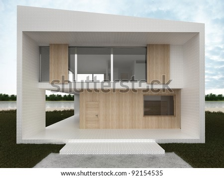Modern house design - computer generated visualization. Mosaic and wood facade in european style of architecture. - stock photo